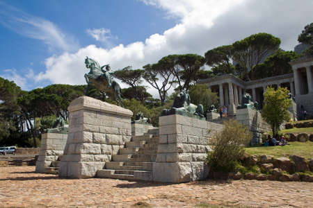 CAPE TOWN, SOUTH AFRICA - FEBRUARY 15, 2015: Unidentified people enjoy the Rhodes Memorial and the view over Cape Town, South Africa.
