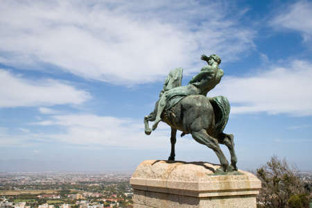 capetown: Bronze statue of a horseman, Rhodes Memorial in Cape Town. Editorial