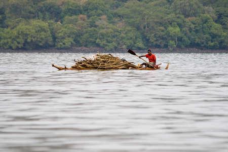 LAKE TANA, ETHIOPIA - FEBRUARY 26, 2010: Unidentified Ethiopian man transports logs in a papyrus boat on Lake Tana in Ethiopia. Editorial