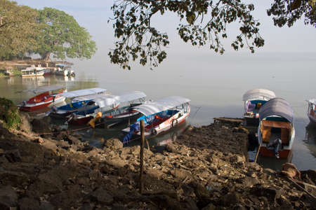 BARHIR DAR, ETHIOPIA - FEBRUARY 26, 2010: Boats anchor at the shore at Lake Tana. Editorial
