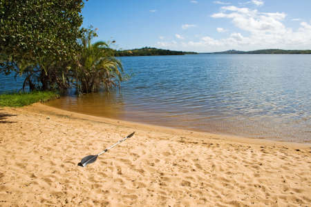 Paddel on the beach of Lake Nhambavale in Mozambique, East Africa.