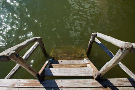 Wooden stairs lead into water.