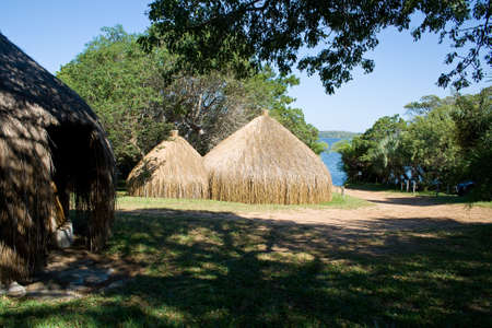 Huts in Mozambique, East Africa. Stock Photo