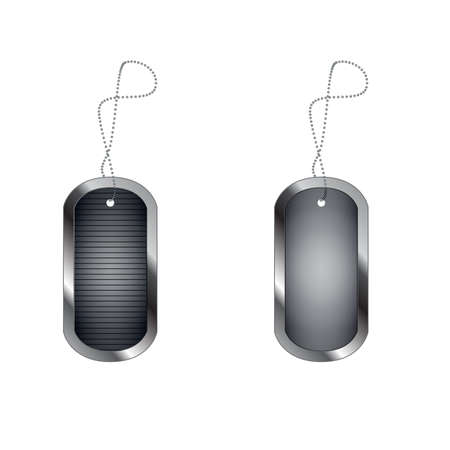 empty blank military dog tags. Vector