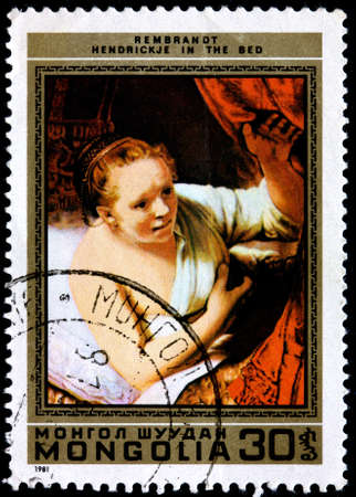 REMBRANDT: MONGOLIA - CIRCA 1981: A Postage Stamp Printed in the Mongolia Shows Hendrickje in the Bed by Rembrandt, circa 1981
