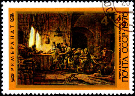 parable: USSR - CIRCA 1976: A Postage Stamp Printed in the USSR Shows Parable of the Workers in the Vineard by Rembrandt 1637, circa 1976