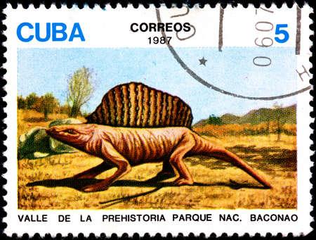 CUBA - CIRCA 1987:A Postage Stamp Shows Prehistory Birth of Valley Park Baconao, CIRCA 1987