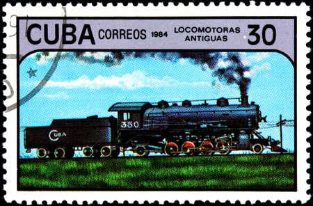 CUBA - CIRCA 1984:A Postage Stamp Shows Antique Locomotive, circa 1984