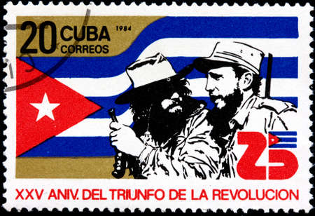 CUBA FLAG: CUBA - CIRCA 1984 A Postage Stamp Shows 25th Anniversary of the Victory of the Cuban Revolution, circa 1984 Editorial