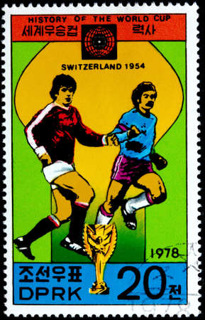KOREA - CIRCA 1978  A Postage Stamp Shows the Soccer Players with Inscription  Switzerland 1954 , Series  History of World Cup , circa 1978