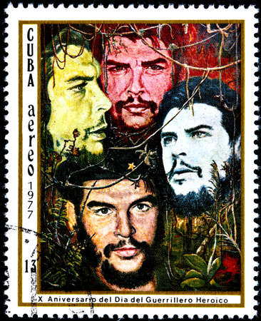 guerrilla: CUBA - CIRCA 1977  A Postage Stamp Shows Image Ernesto Che Guevara and Dedicated to the 10th Anniversary of the Day of the Heroic Guerrilla, circa 1977