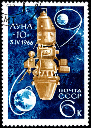 USSR - CIRCA 1966  A Postage Stamp Shows the Spaceship Luna-10 and Inscription  Luna-10, 3  IV 1966 , circa 1966 photo