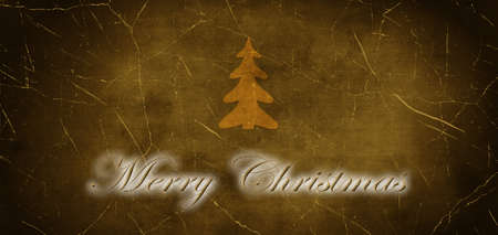 The Inscription Merry Christmas with Christmas Tree on the Old Cracked Background Stock Photo - 15793533