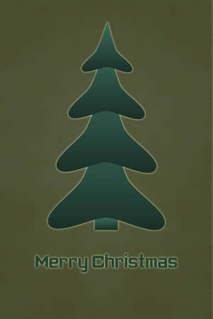 The Inscription Merry Christmas with Christmas Tree on the Old Cracked Background photo