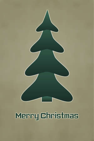 The Inscription Merry Christmas with Christmas Tree photo