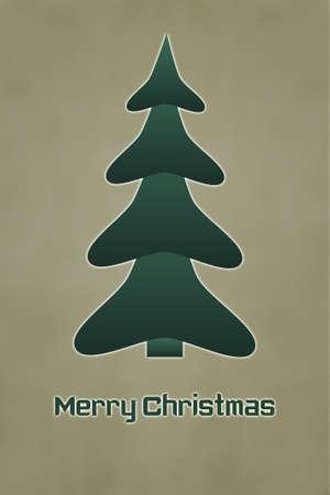The Inscription Merry Christmas with Christmas Tree Stock Photo - 15845199