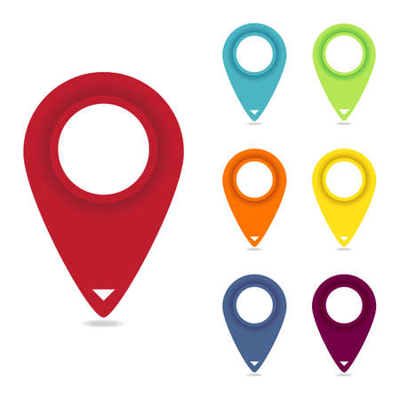 Set of Round Map Pointers over White Background Vector