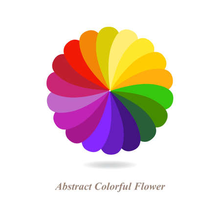 colour wheel: Abstract Colorful Flower Isolated on White Background