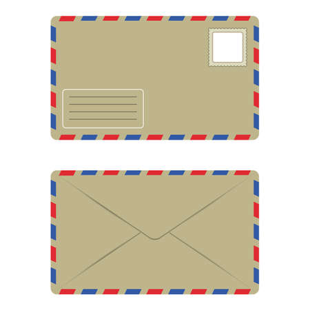 Old Envelope with Postage Stamp Front and Back, Isolate over White Background Vector