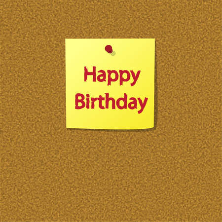 Sticky Note with Happy Birthday Message on a Cork Bulletin Board photo