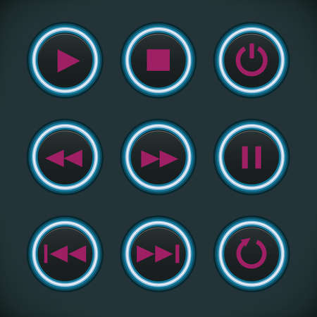 audio player: Set of  Media Audio Player Buttons Illustration
