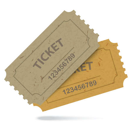 Admit One Vintage Paper Tickets with Numbers Icon Isolated. Vector EPS10 Vector