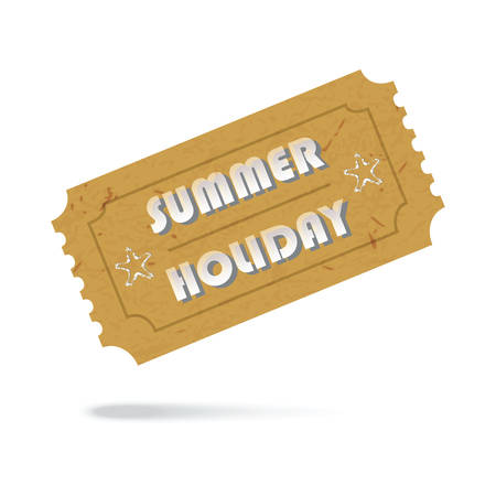 Admit One Vintage Paper Ticket Summer Holiday Icon Isolated. Vector EPS10 Vector