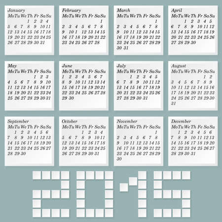 Simple 2015 Calendar. Months Style Notes with Shadows. Week Starts with Monday  without Holidays Mark. Vector