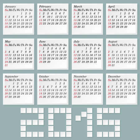Simple 2015 Calendar. Months Style Notes with Shadows. Week Starts with Sunday . Vector