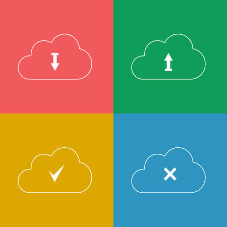 Set Cloud with Download Arrow. Vector Icons. Vector