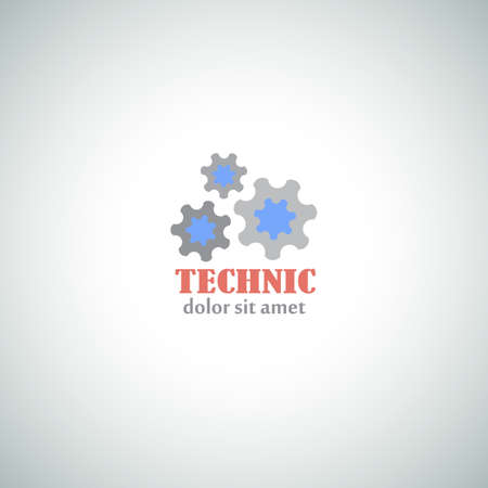 Technic  Logo with Mechanical Cogs. Industrial Vector Icon.