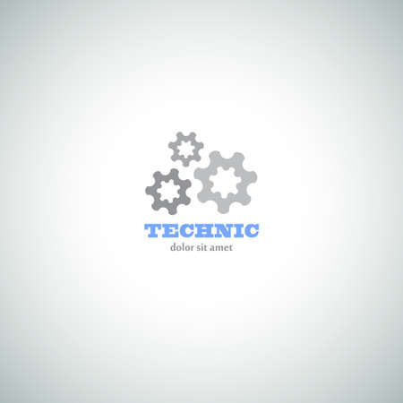 Technic  Logo with Mechanical Cogs. Industrial Vector Icon. Vector