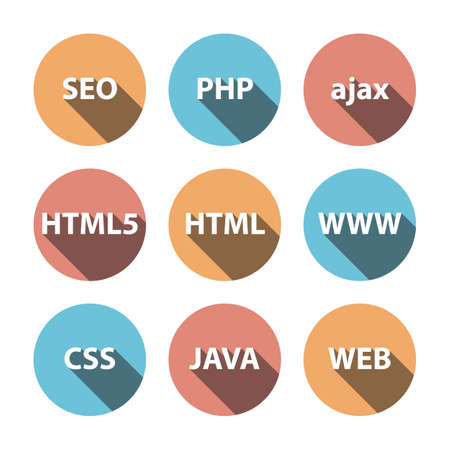 php: Set Vector Flat Icons. Illustration