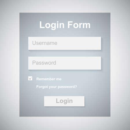 The Simple Gray Login Form  Web Site Design  Vector