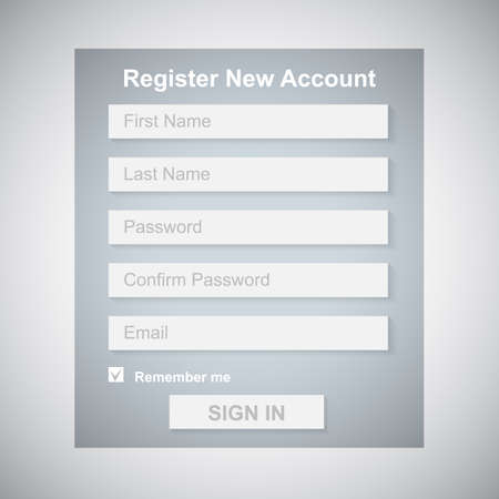 The Simple Gray Register New Account Form  Web Site Design  Vector