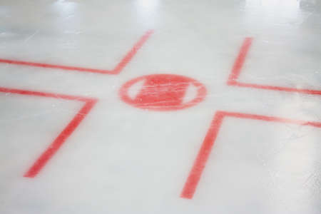 ice surface: Ice Hockey Lines. Hockey Face Off Lines. Stock Photo