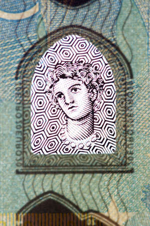 twenty euro banknote: Part of New Banknote Twenty Euro Stock Photo