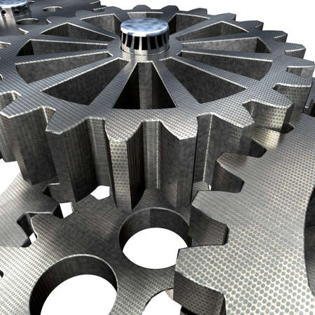 metal parts: Mechanism of Metal Gears and Cogwheels Movement Transmission. Working Together - Concept of Teamwork.