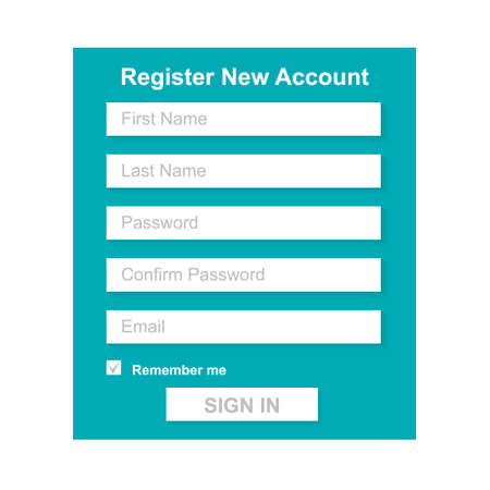 new account: The Simple Gray Register New Account Form. Web Site Design.