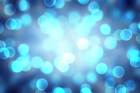 Blue Abstract Light. Bokeh Background. Stock Photo