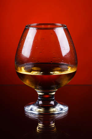 wineglass of cognac on a red gradient background. Stock Photo