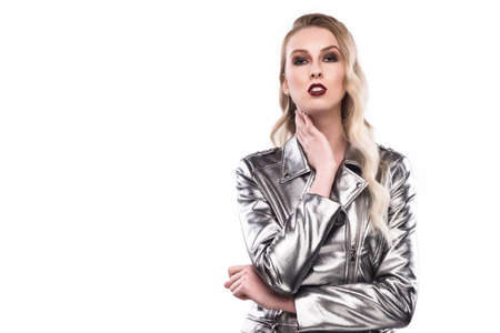 female portrait in a silvery metallic to a jacket isolated on a white background.