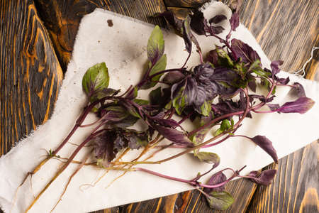 Several branches of fresh basil lie on a white cloth napkin on an old wooden table of rough texture. Copy space. Advertising design. Kitchen, restaurant, cooking. Фото со стока