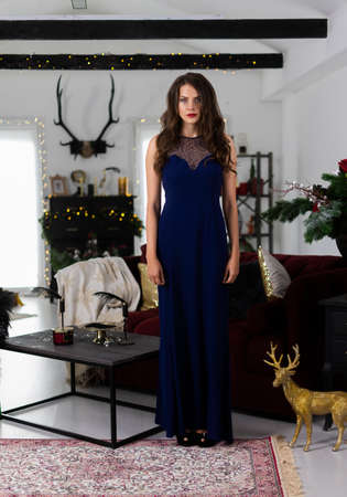 A beautiful slim smiling girl dressed in a long evening dress is statically standing in a festive Christmas interior. New year, lifestyle, fashion design. Copy space.