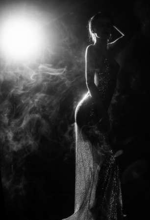 Silhouette of a slim, artistic girl wearing an elegant evening dress in theatrical fog. Sensual, conceptual and fashionable design. Black and white. Copy space.