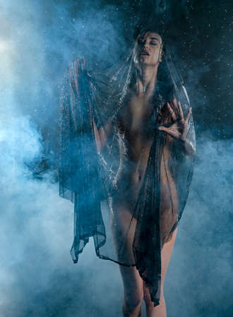 Beautiful slim wet girl, sensually posing in the rain, in theatrical smoke, with her body covered with black transparent veil on dark background. Art, conceptual, fashionable design