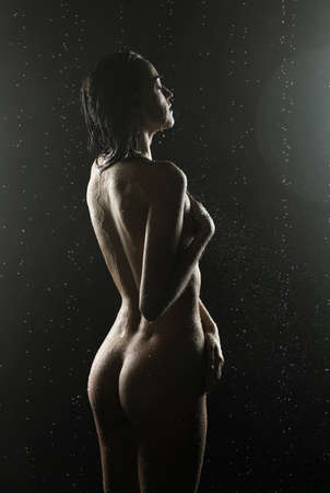 Beautiful silhouette slim wet girl, posing nude in the drops of the rain, in theatrical fog, in the dark. Artistic, conceptual, design