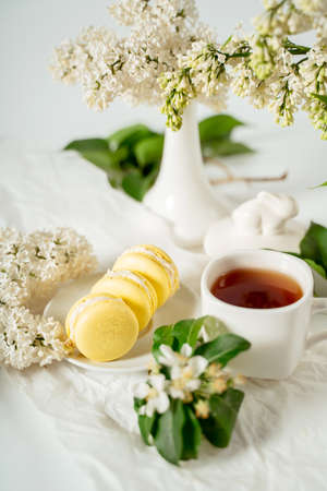 Yellow macaroon cookies among white flowers of lilac and green leaves. Food photography. Advertising and commercial close up design Фото со стока
