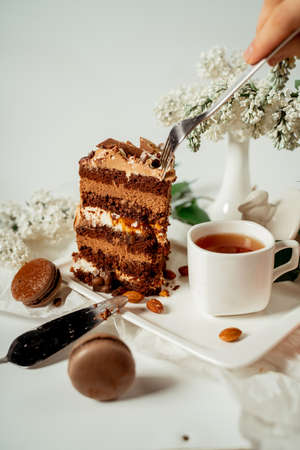 Chocolate cake decorated with various cookies and nuts on a glass plate and macaroons among white flowers of lilac and green leaves. Food photography. Advertising and commercial close up design Фото со стока