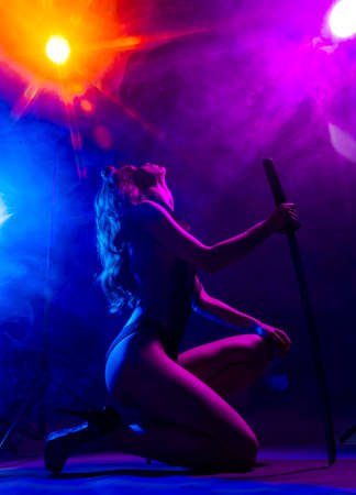 Beautiful slim sexy girl wearing lingerie and high heels posing holding katana sword in her hand in the rays of light in a colorful smoke. Artistic, conceptual, silhouette and advertising design. Banco de Imagens